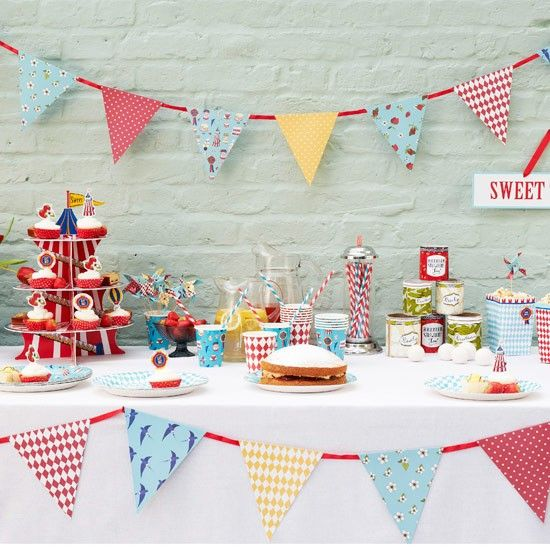 Decorations Festive Banners County Fair Paper Bunting