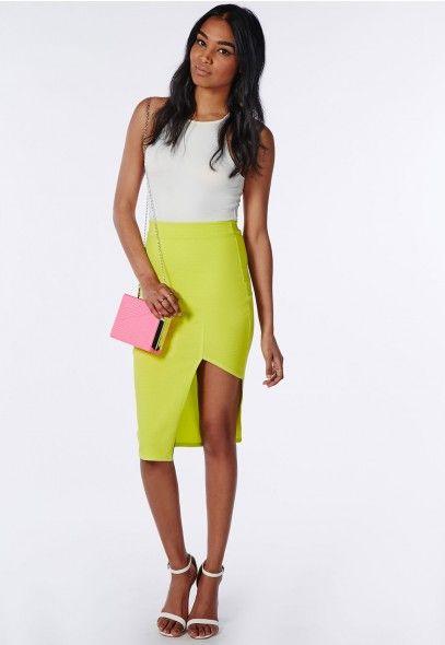 Front Split Textured Midi Skirt Acid Green - Skirts - Missguided