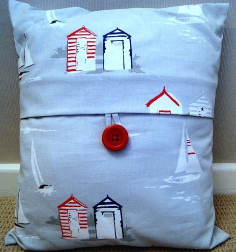 Cath Kidson style beach hut cushion - handmade