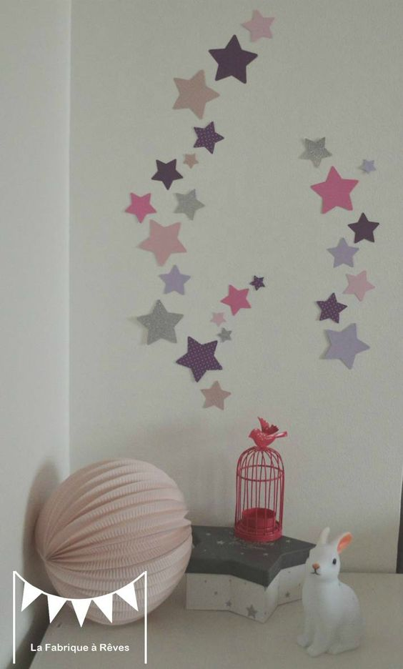 Lot stickers toiles parme violet rose argent d coration for Chambre violet et rose