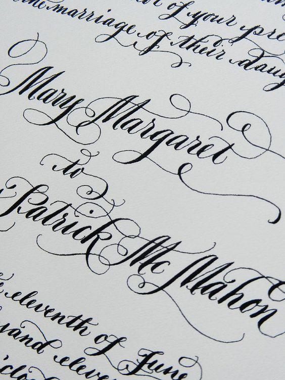 Calligraphy Wedding Invitation On Cotton by DesignsByRobynLove, $9.00