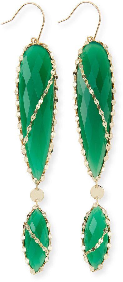 Lana Envy Green Onyx Double-Drop Earrings on shopstyle.com