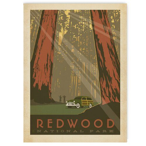 Americanflat Redwood National Park By Anderson Design Group Vintage Advertisement Wrapped On Canvas Retroposter Grafische Kunst Leinwandbilder