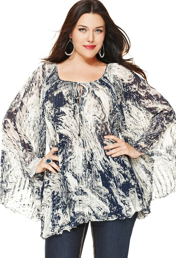 Plus Size Navy Pleated Chiffon Blouse | Plus Size Shirts & Blouses | Avenue