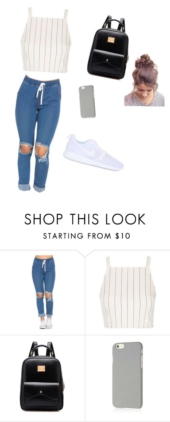 """""""A movie date outfit"""" by atrogirl ❤ liked on Polyvore featuring Topshop, Klix and NIKE"""