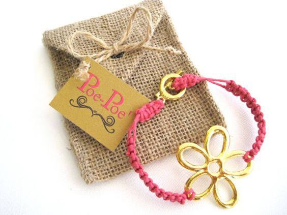 Flower Hemp Bracelet Gold Bright Pink Hemp Cord by PoePoePurses, $12.00