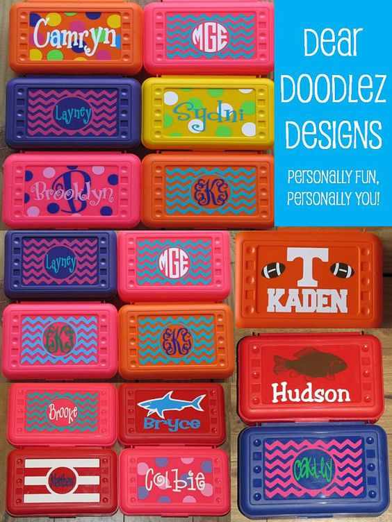 BACK to SCHOOL Personalized Pencil Box and by DearDoodlezDesigns, $6.99