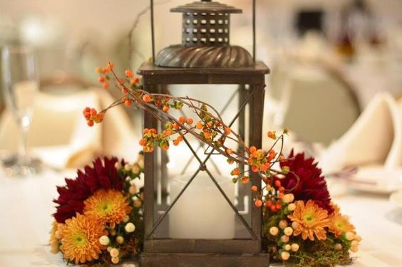 Simple Fall Wedding Centerpieces: Fall Lantern Centerpiece With Bittersweet Wrap By Sebesta
