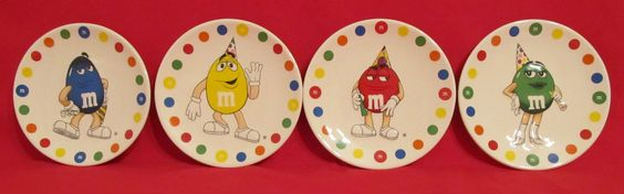"M M's World 6"" Collectible Ceramic M M Character Plates Lot of 4 Plates 