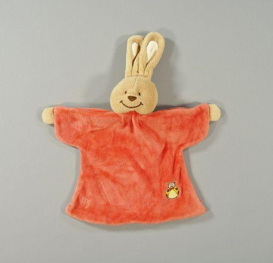 Doudou lapin plat velours rouge et beige Bengy