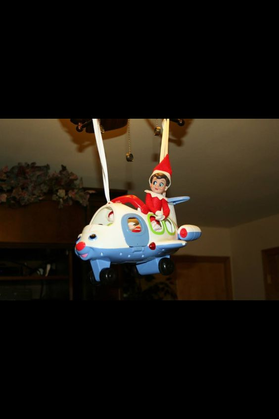 Elf on the shelf ideas. Jet setting, toy airplane