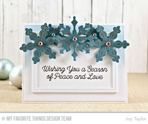 Handmade card from Joy Taylor featuring Snowflake Sparkle Card Kit #mftstamps: