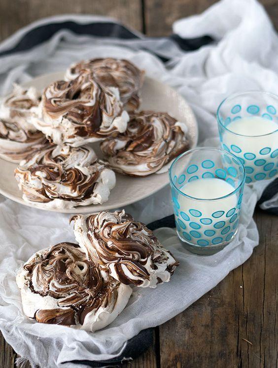 Chocolate Swirl Meringues with Sea Salt ~ Stunning looking meringues ...