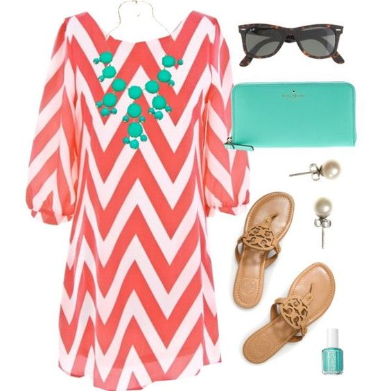 Peach pink and white chevron dress with mint accessories, shades, pearl studs and sandals: