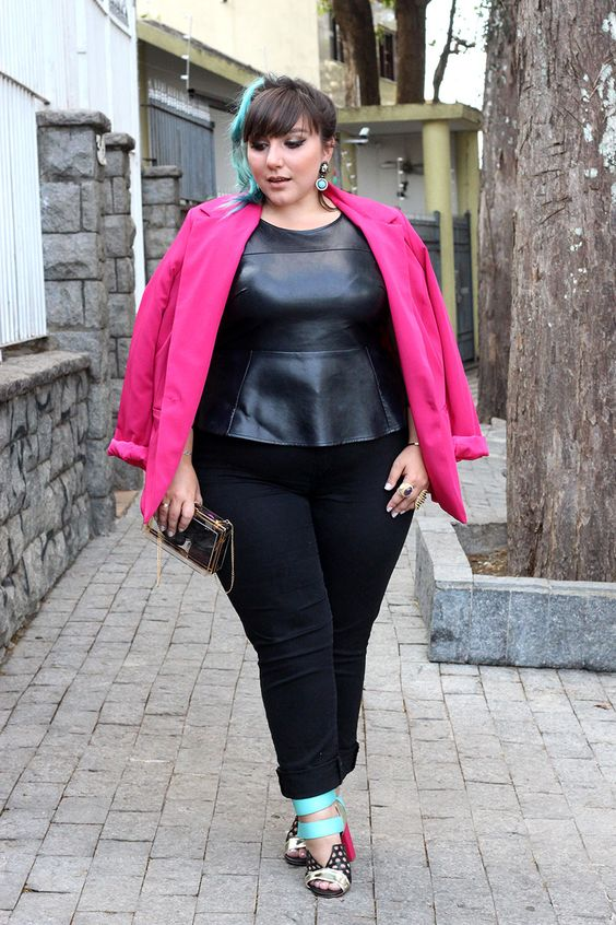 Edgy w/ a Pop of color. Pink Coat, Black Fitted & Flared Black Blouse, Dark Colored Pant, Bright Shoes.