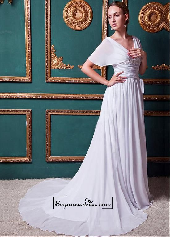Alluring Chiffon&Satin A-line V-neck Natural Waistline Wedding Dress