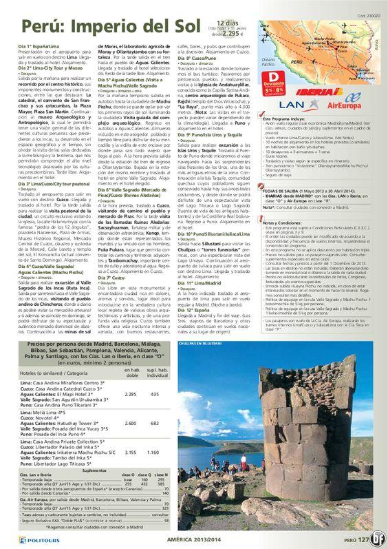 PERÚ Imperio del Sol, dto. desde 8%: +90 días, sal. 14/10/13 al 30/04/14 (12d/10n) desde 2.295€ - http://zocotours.com/peru-imperio-del-sol-dto-desde-8-90-dias-sal-141013-al-300414-12d10n-desde-2-295e/