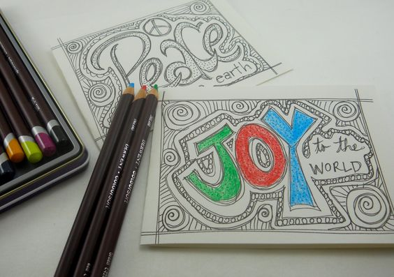Christmas cards to print and color; holiday cards for your crafty friends; print, cut and send for your friends to color; 2 designs on page by HandyGalStudios on Etsy