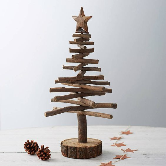 Twig christmas trees are a rustic alternative craft for Diy twig decor