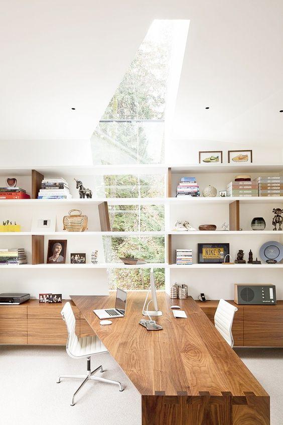 wood + white + custom shelving.
