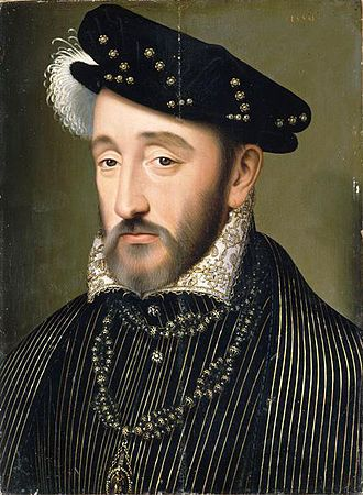 June 30, 1559: Mortally wounded, Henry II of France. In celebration of the Peace of Cateau-Cambresis, Henry participated in a joust with Gabriel Montgomery, captain of the King's Scottish Guard. He suffered a head wound which became infected and he died on July 10th. His Queen, Catherine de Medici, remained by his side and prevented Henry's mistress, Diane de Poitiers, from visiting him, event though he repeatedly called for her.