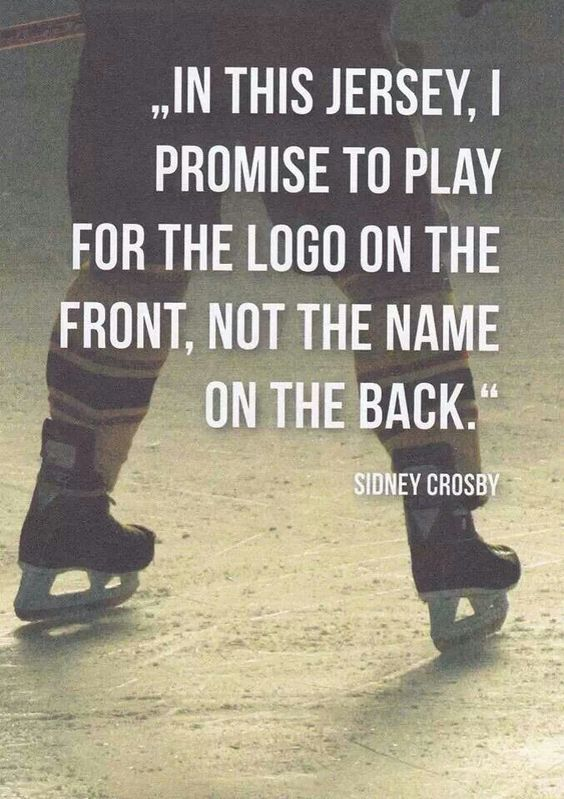 """Love sidney Crosby What a great way to incorporate Herb Brooks's famous """"the name on the front is a hell a lot more important than the name on the back."""""""