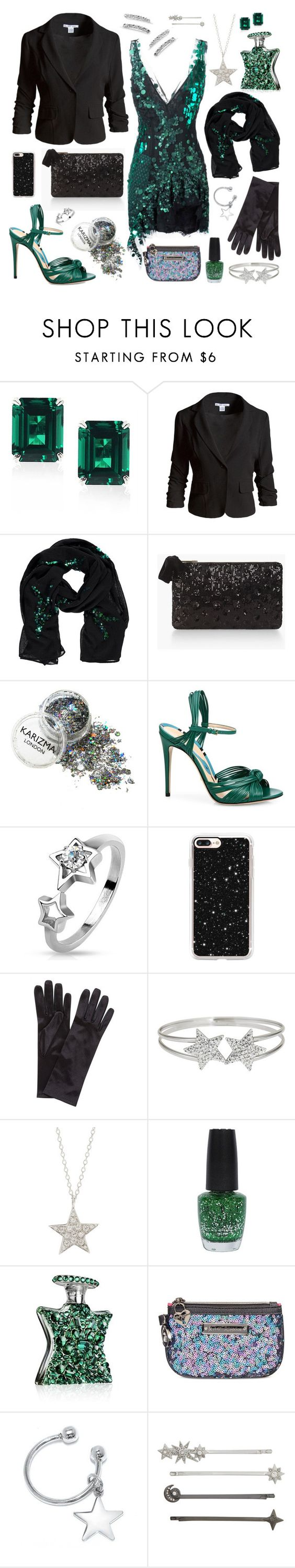 """""""Emerald Party Look"""" by inspiredsara ❤ liked on Polyvore featuring Sans Souci, Talbots, Gucci, West Coast Jewelry, Casetify, John Lewis, Decadence, Finn, OPI and Bond No. 9"""