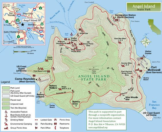 Angel Island State Park Map Get there by ferry from San Francisco – San Francisco Tourist Map Pdf