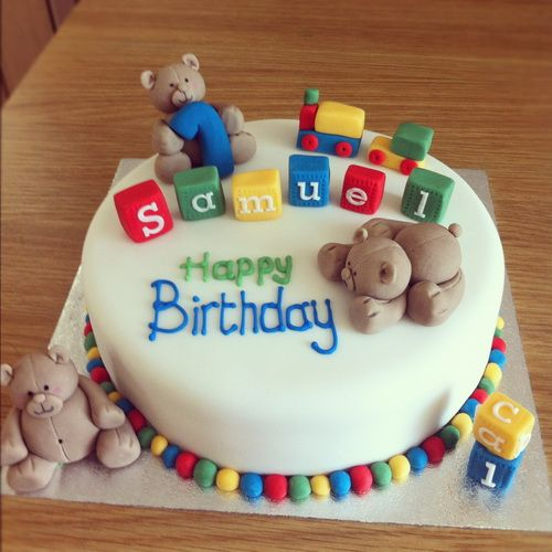 Bear First Birthday Cake With Name Ideas