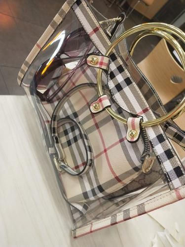 Ring Handle Shoulder Clear Bag with Plaid Inner Pouch | Baginning