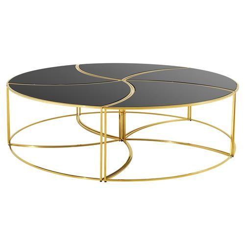 Eichholtz Carter Hollywood Regency Black Glass Gold Round Coffee Table In 2020 Gold Coffee Table Round Gold Coffee Table Coffee Table
