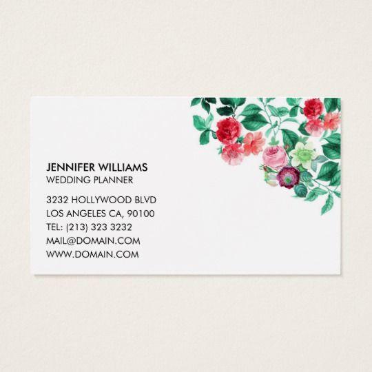 Elegant Floral Flower Wedding Event Planner Business Card Zazzle Com Wedding Event Planner Wedding Planning Business Event Planner Business Card