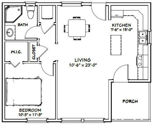 30x24 House 1 Bedroom 1 Bath 657 Sq Ft Pdf Floor Plan Model 2h Shed Plans Floor Plans How To Plan