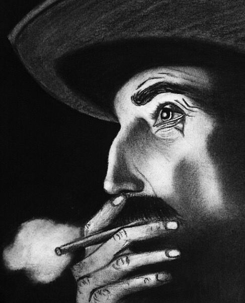 "Daniel plainview ""There Will Be Blood"" charcoal"