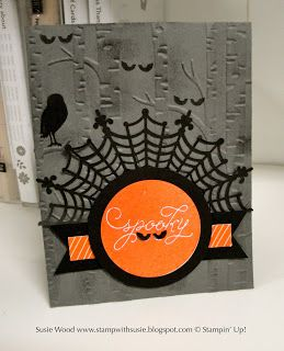 Stampin' Up!- A cute Halloween card using 'Among the Branches' with the new Woodland embossing folder!