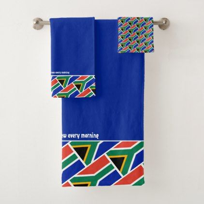 South Africa Flag Personalized Scripture Blue Bath Towel Set