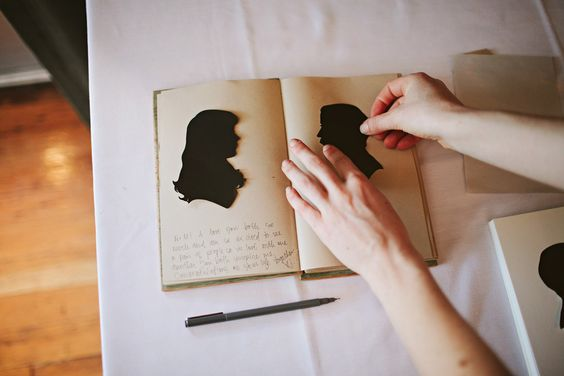 Love this idea: silhouettes of the guests cut by an artist at the reception for a keepsake book filled with messages to the  happy couple.: Scrapbook Ideas For Couples, Smash Book, Scrapbooking Ideas For Couples, Portland Wedding, Couple Scrapbooking, Guest Book, Diy Crafts Gift Ideas, Photo Scrapbooking Ideas