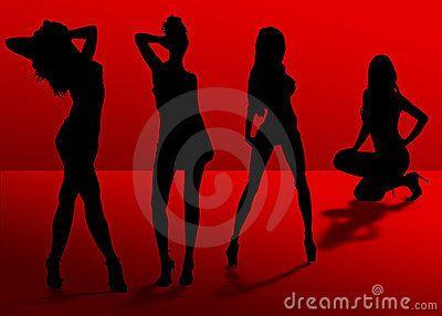 Cuatro Sombras De Las Mujeres De La Silueta Sin Tacones