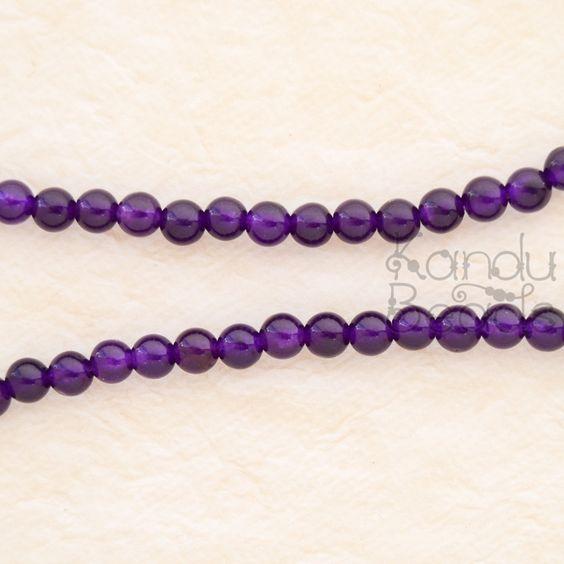 "Purple Dyed Agate, Round Beads 6mm 15"" Deep Purple Very Nice Quality"