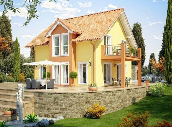 Einfamilienhaus im Landhausstil mediterran mit Satteldach-Architektur - Haus Evolution 136 V6 Bien Zenker Fertighaus Ideen - HausbauDirekt.de