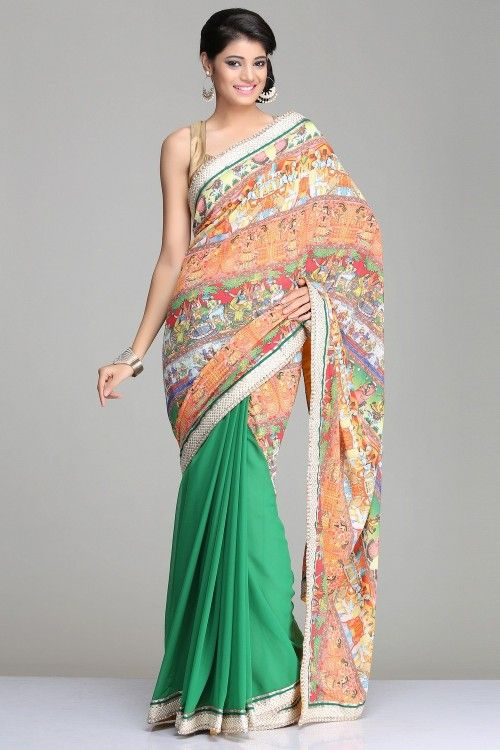 Designer Festive Sarees | Multicoloured & Green Georgette Abstract Digital Printed Saree With Pearl & Gotta Border And Green & Green Soft Brocade Blouse Piece | IndiaInMyBag.com