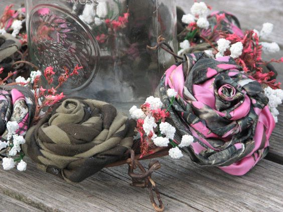 Pink Camo Wedding Centerpiece candle ring Mason by TheVineDesigns, $29.95