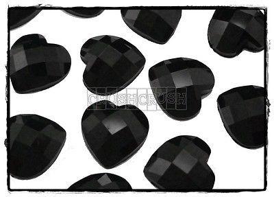 30pcs Black Faceted Gems Heart Cabochons Flat back F409   eBay