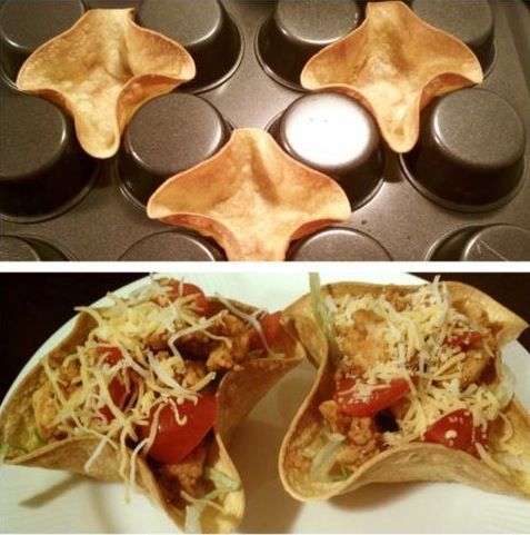 taco shell muffin pan -be sure to sprinkle with water, heat in microwave, while warm spray with cooking spray then place in between the muffin cups.  Cook at 375 for 10 minutes!  Really nicely crunchy but still soft!  Great mini Taco Salad!: Taco Salad, Tortilla Bowl, Food Idea, Tacobowl