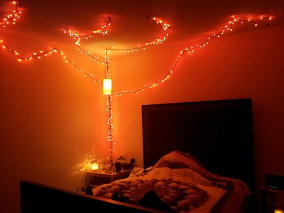 Romantic String Lights Bedroom : Sexy bedroom lighting, made possible from discounted Halloween string lights Oh, how crafty ...