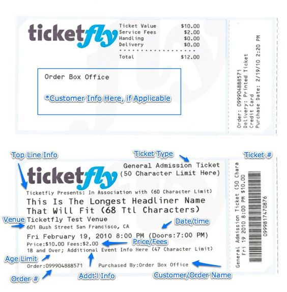 Ticketfly Sample Printed Ticket Tickets Pinterest - event tickets template
