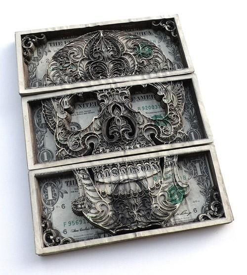 Laser etched dollar bills by Scott Campbell http://www.scottcampbelltattoo.com/