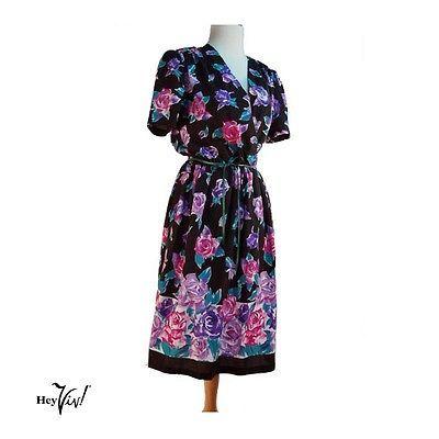 80s-Floral-Print-Tea-Dress-Vintage-Pink-amp-Purple-Flowers-on-Black