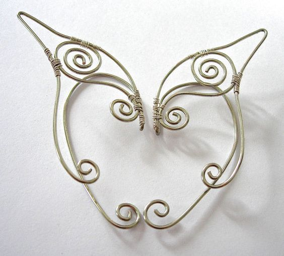Pair of Silver Elf Ear Cuffs Ear Wraps Renaissance by jhammerberg