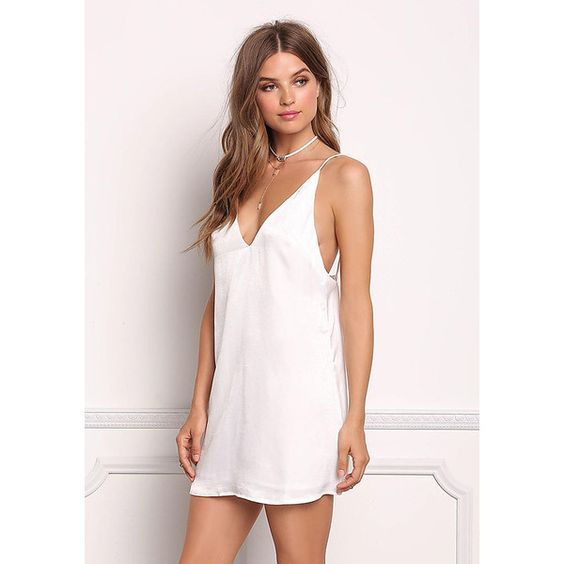 White Satin Low Back Cami Dress ($50) ❤ liked on Polyvore ...